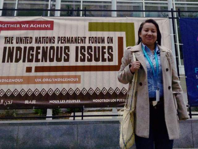 Aura Tegria at the United Nations Permanent Forum on Indigenous Issues. (Photo Credit: Abad Leyva, Encinal Oakland)