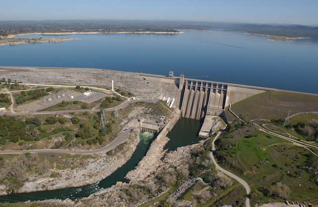 Folsom Dam and Lake, on the American River, above Folsom, California, March 2004. (Photo Credit: Michael Nevins / United States Army Corps of Engineers.)