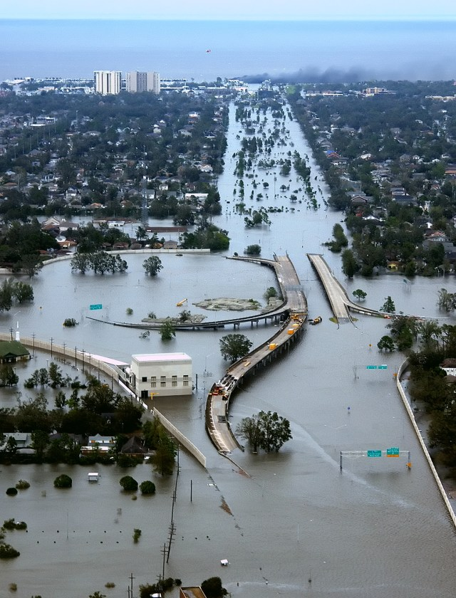 Flooded I-10/I-610 interchange and the surrounding area of northwest New Orleans and Metairie, Louisiana. (Photo Credit: U.S. Coast Guard, Petty Officer 2nd Class Kyle Niemi)