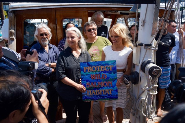 The Dream Team. From left to right: David Suzuki, Alexandra Morton, Chief Ernie Crey and Pamela Anderson. (Photo Credit: Ivan Alexis, courtesy of Sea Shepherd)