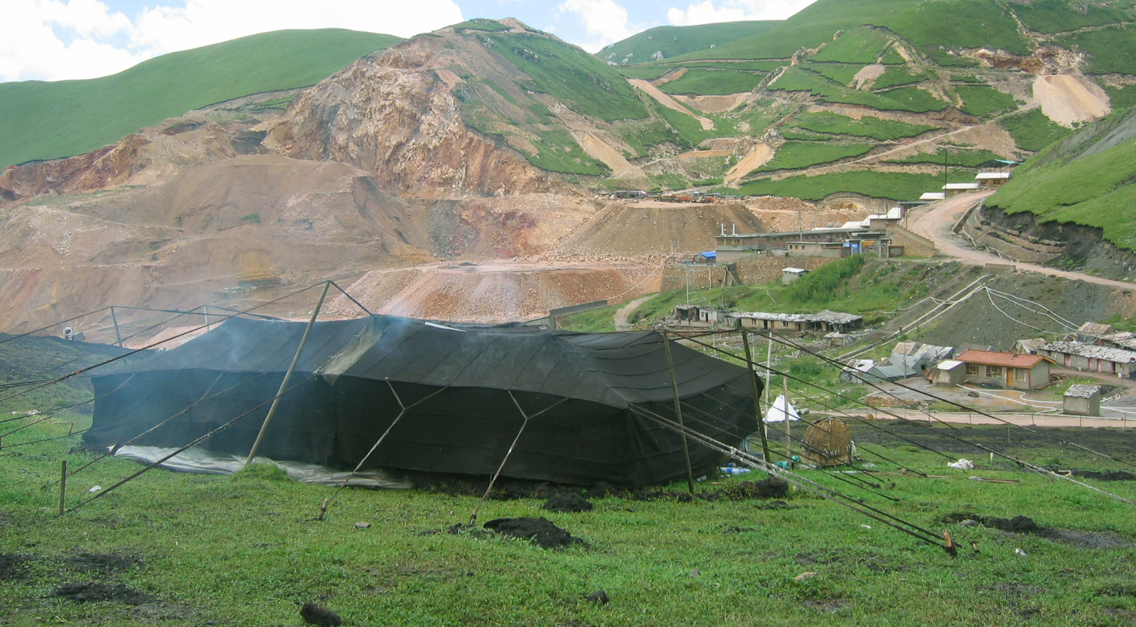 Nomad tent faces off with Chinese mining venture on the grasslands. All too often, this happens within the boundaries of a so-called nature reserve.