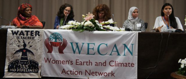 "Nina Gualinga, Kichwa from Sarayaku, Ecuador, speaks on a panel during WECAN International's public event, ""Women Leading Solutions on the Frontlines of Climate Change,"" in Marrakech, Morocco. (Photo: Emily Arasim / WECAN)"