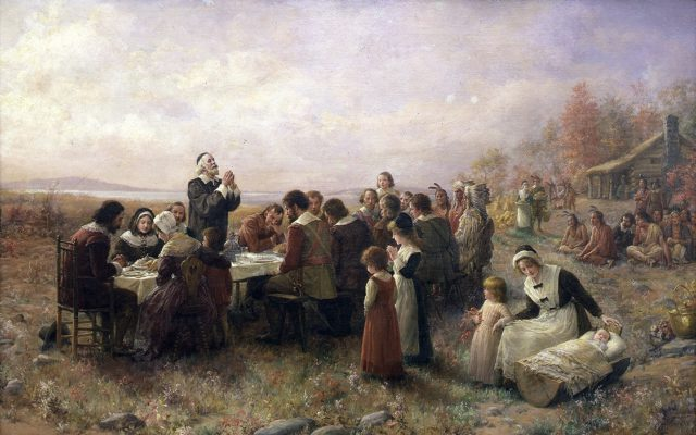 """The First Thanksgiving at Plymouth"" (1914) by Jennie Augusta Brownscombe."