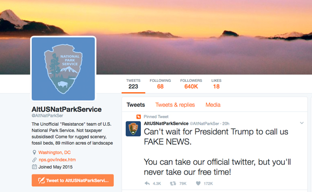 A new Twitter account created by employees of the National Park Service to protest President Trump. (Photo: Screengrab / Twitter)