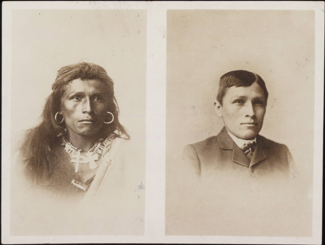 Before and after image of Navajo Tom Torlino c. 1882 at Carlisle Indian School. (Photo: Wikimedia Commons)