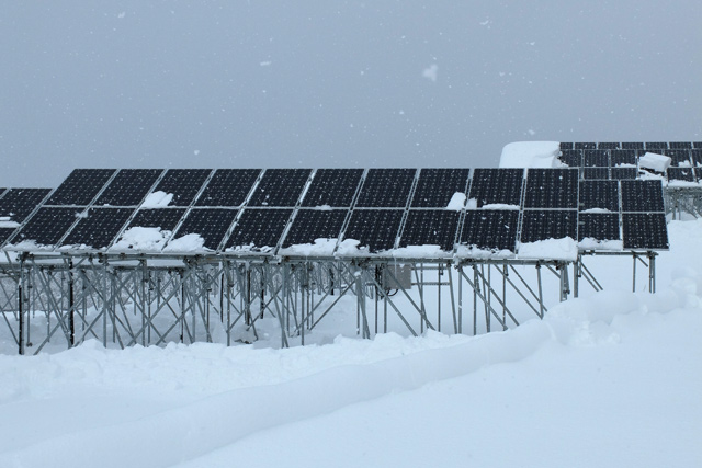 Solar panels on a snowy day in Fukushima prefecture in Japan. (Photo: Nithin Coca / Planet Experts)