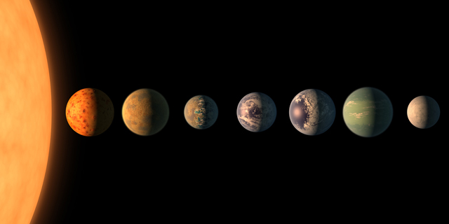 A new climate model suggests that of the seven planets orbiting the star Trappist-1, only Trappist-1e (fifth from the star) may have liquid water and be ripe with life. (Photo: NASA/JPL)