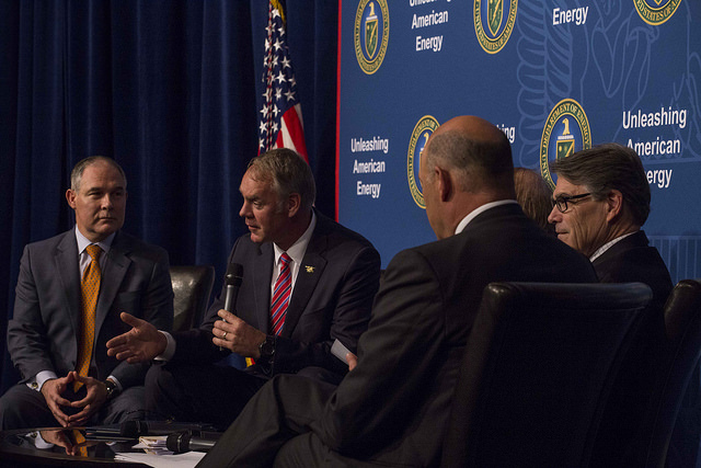 Pruitt, Zinke and Perry at a roundtable on energy dominance. (Photo: U.S. Department of Energy)