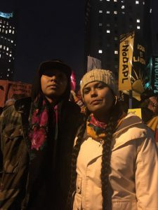 Planet Expert Tara Houska and friend at the #NoDAPL protest in New York City, November 15, 2016. (Photo: Ariane Sims / Planet Experts)