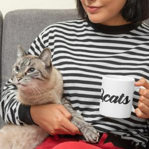Tats and Cats Ceramic Mug girl in striped shirt with her cat holding mug