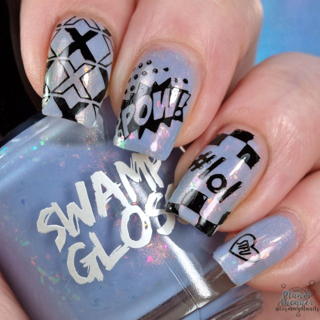 "Pictured here is a swatch of 'Sup by Swamp Gloss a tinted periwinkle by Swamp Gloss with nail stamping art stamped in black. On the pointer finger are black X's, middle finger ""Pow!"", pointer finger ""#lol"" and pinky finger a small heart with ""STFU"" in tiny text."