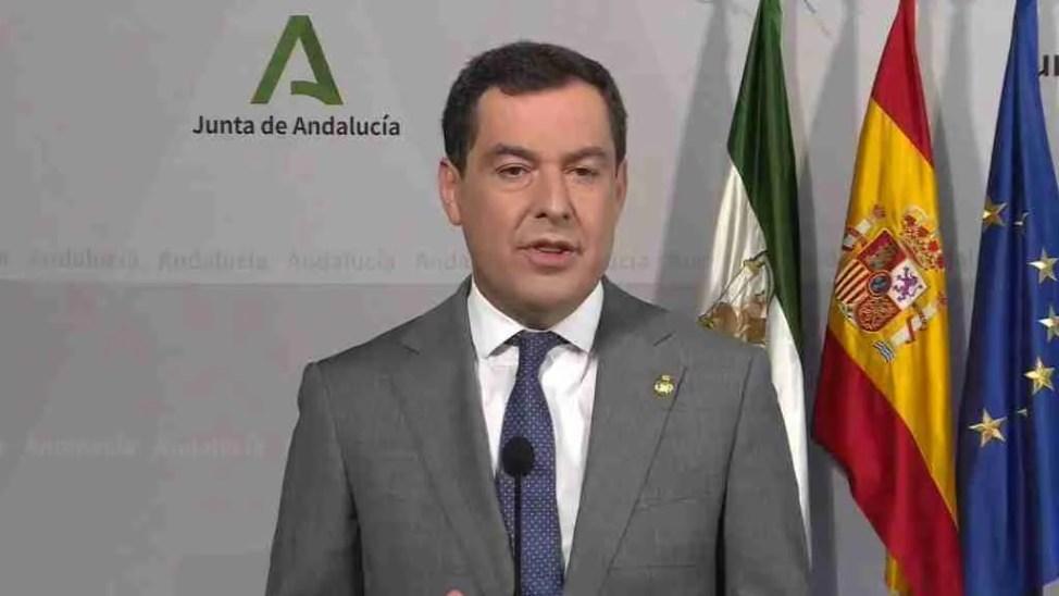 Juanma Moreno at today's Press conference