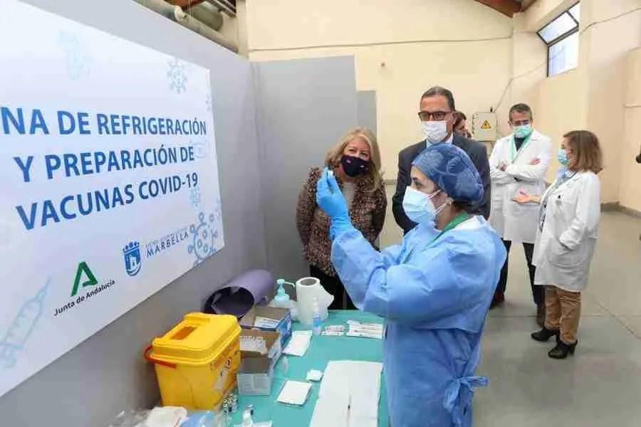Angeles Munoz at the vaccination centre, Marbella