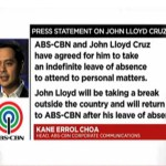 John Lloyd Cruz is on leave of absence