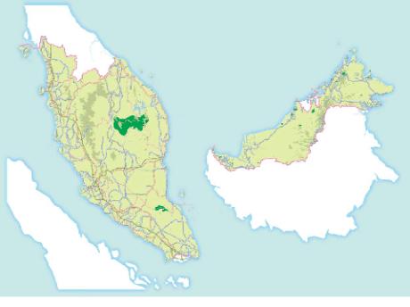 Mappa della penisola Malese e Borneo