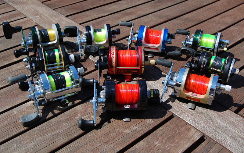 a selection of shore casting reels