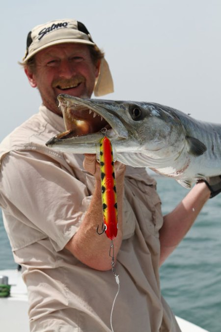 a Guinea-Bissau wahoo on a lure