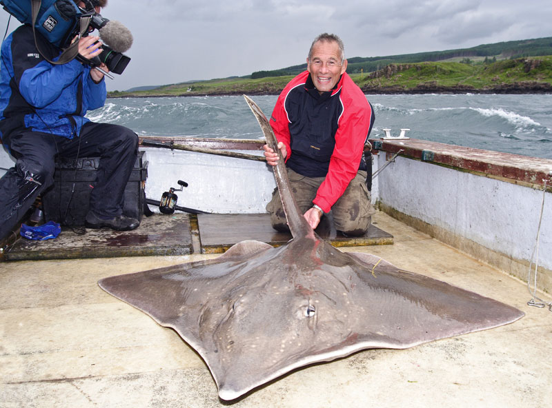 Nigel Botherway and cameraman with a Loch Aline common skate