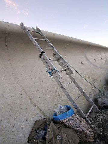 a ladder used to access Marine Drive
