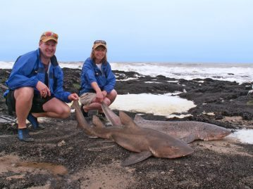Fieona and Mark with gulley and cow sharks from Namibia
