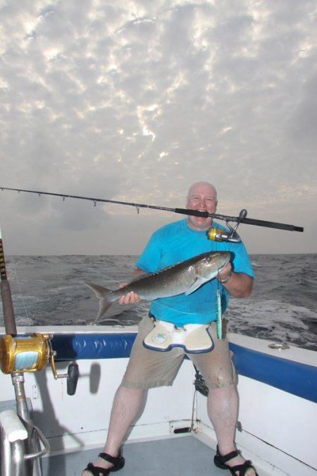 Les McBride with a fish on the Fox Jig Trek and XT rods