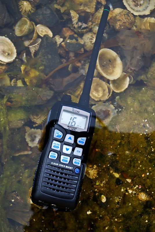 Icom IC-M35 VHF Transceiver floating in sea