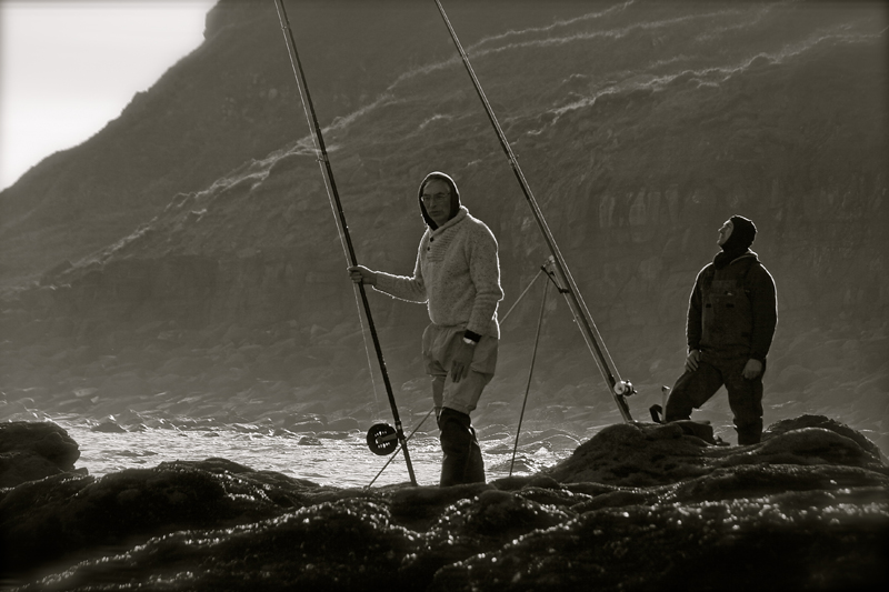 two anglers on the rocks with Scarborough reel