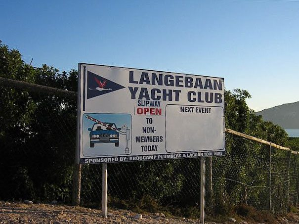 Langebaan yacht club slipway sign