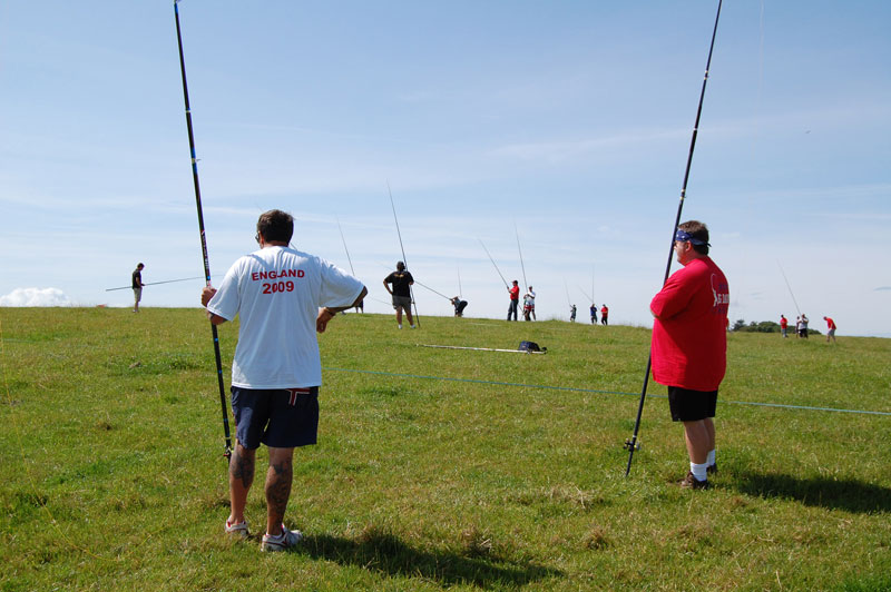 competitors waiting to cast at Surfcast Wales event