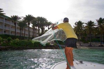Antigua Fishing throwing cast net