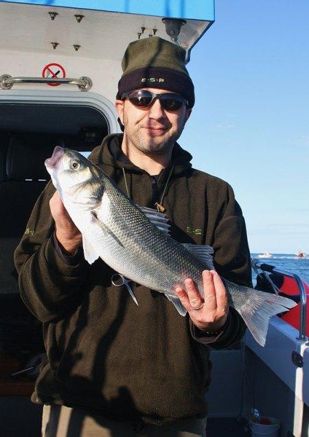 an angler with a Weymouth bass