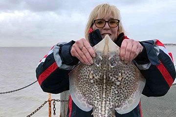Wendy Pullen with a nicely marked thornback ray from Clacton Pier