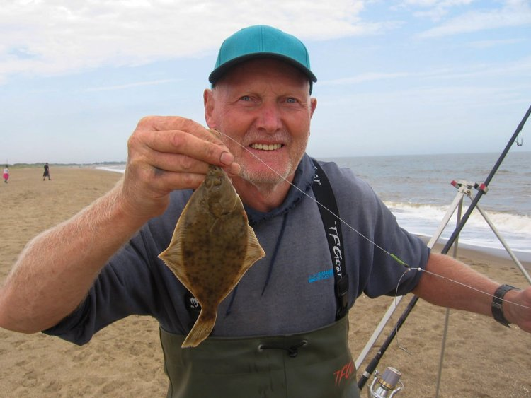 Second placed Alan Steadman with the smaller of his two flounders
