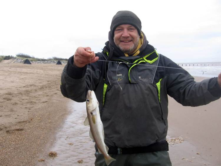 Third placed Ian Nelson looking happy with a 37cm whiting