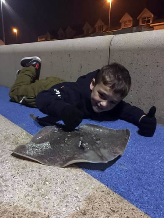 Dillan with his thornback ray