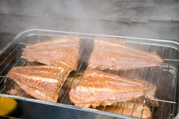 the smoked fillets in the Snowbee Smoker