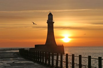 Roker pier Sunderland at sunrise