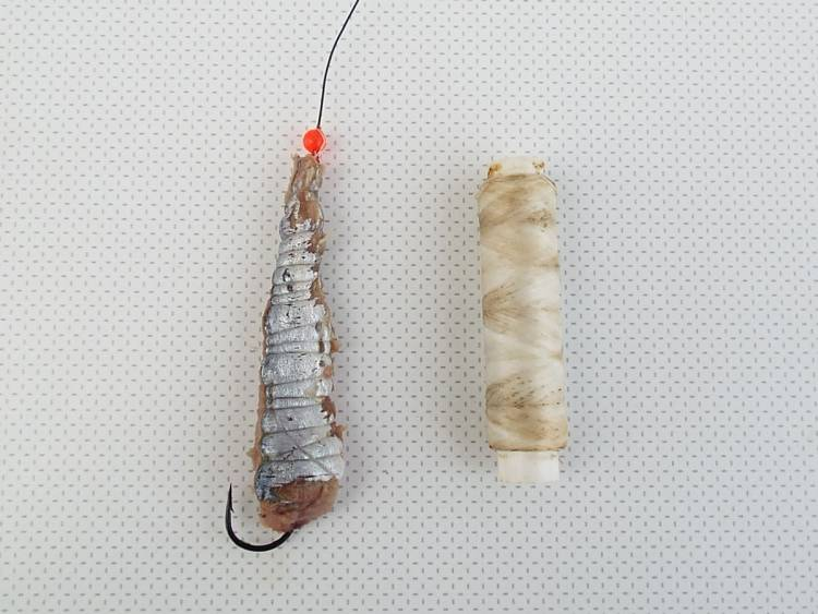 bait wrapped with elastic round bead and stop knot