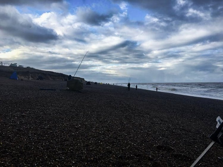 fishing on Kelling beach