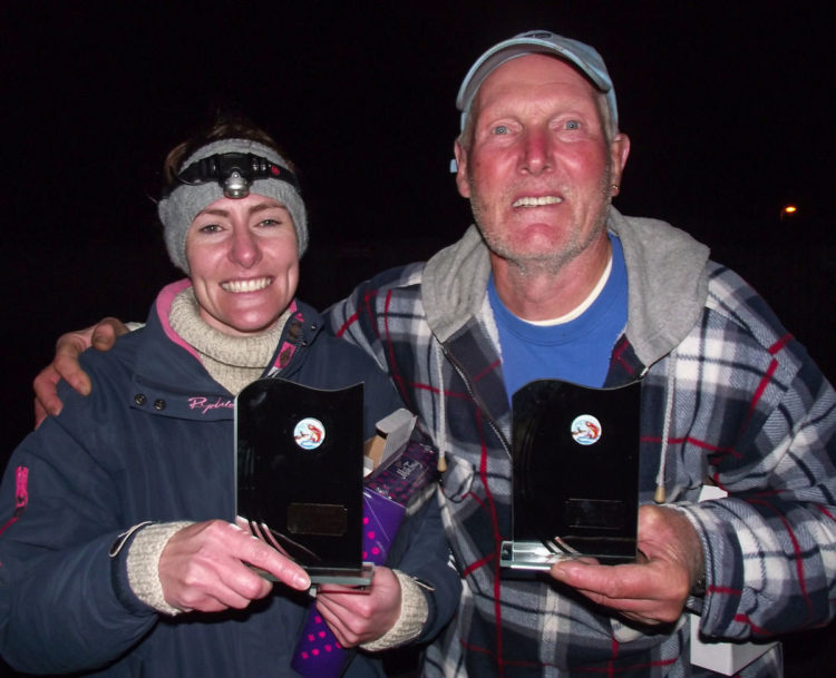 Jessica and Alan with the spoils of their labours