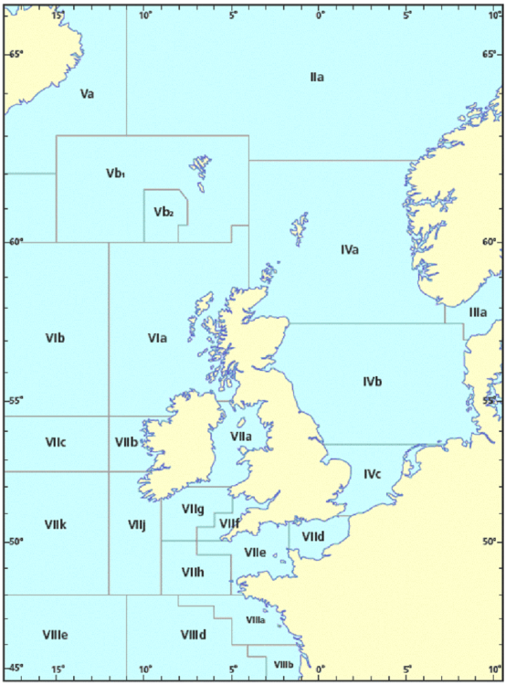 ICES fishing areas Europe