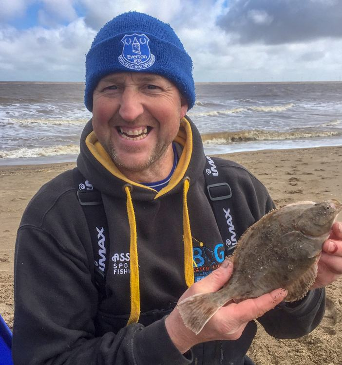 Second placed Adie Cooper with one of his flounders