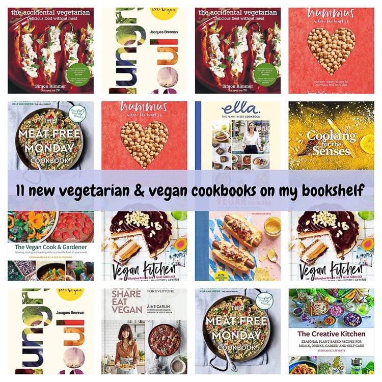 vegan and vegetarian cookbooks collage