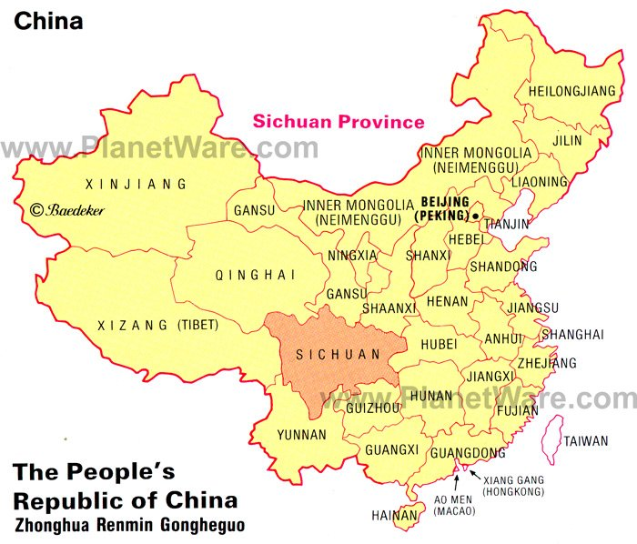 Map of Sichuan Province via Planetware