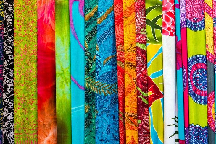 Colorful sarongs at the Ubud Art Market
