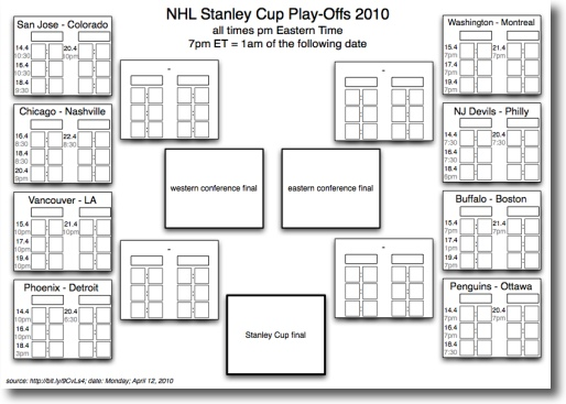 NHL Stanley Cup Play-Offs Schedule at planetwater
