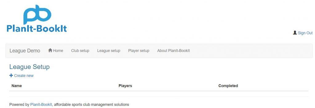 Click League setup from the main menu navigation.  From the League Setup screen next click on the   Create new link.