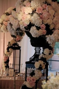 dramatic wedding reception flowers