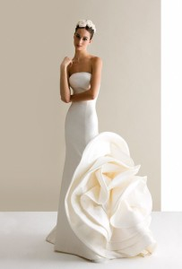dramatic rose wedding dress