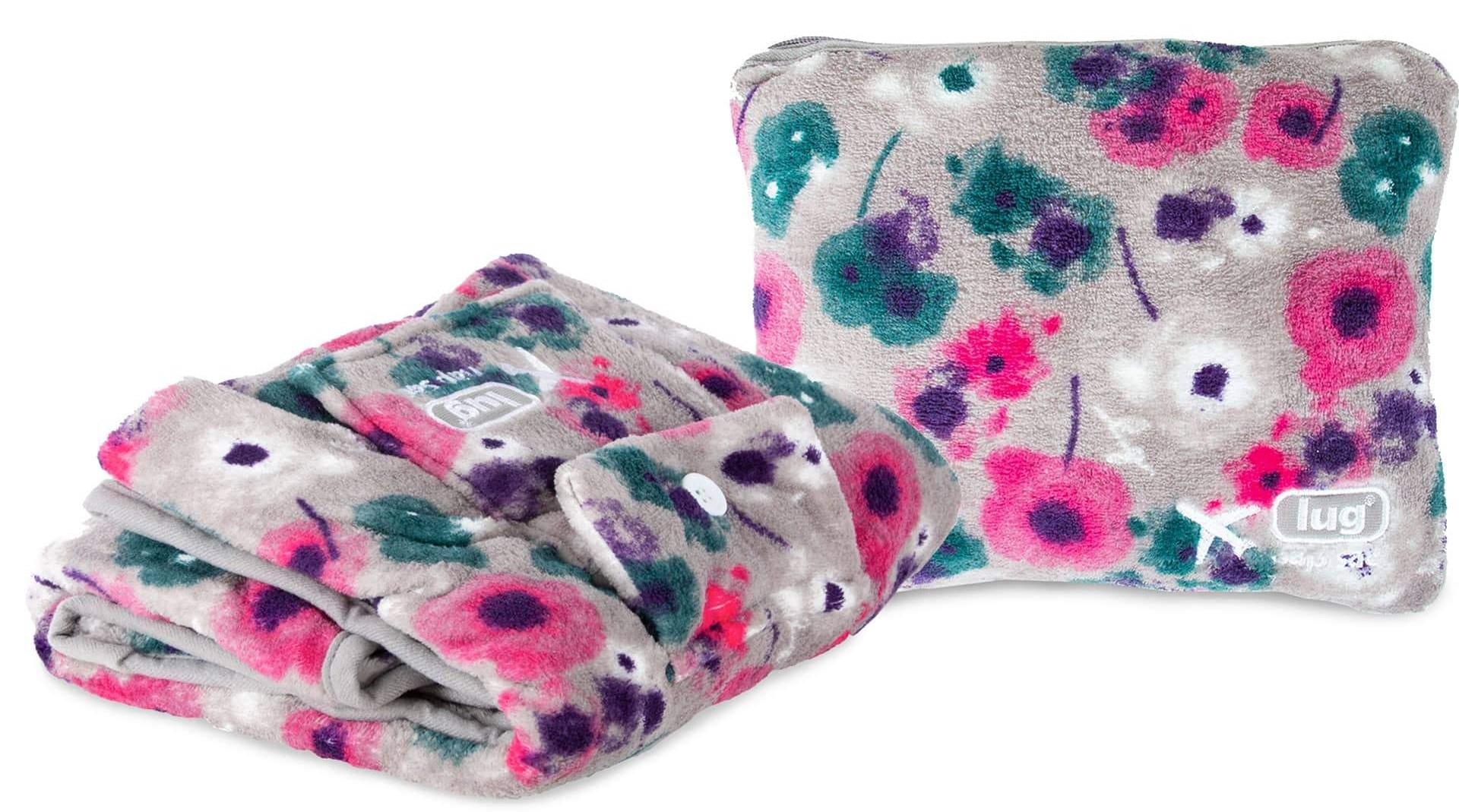 lug nap sac travel pillow blanket watercolor purple